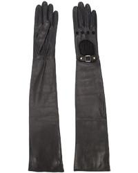 Черные кожаные длинные перчатки от Perrin Paris