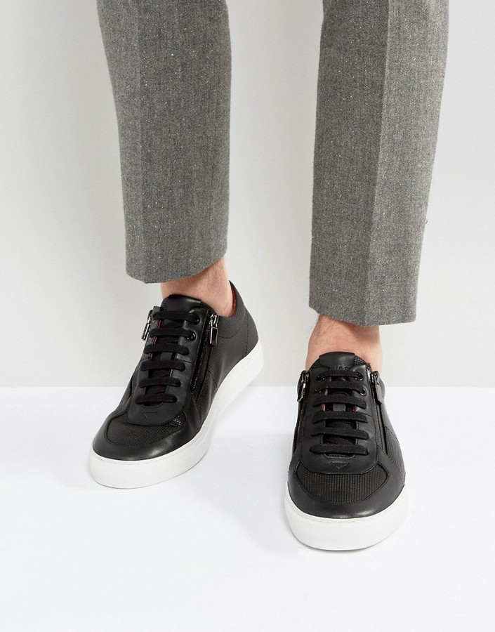 Мужские черные кожаные кеды от Hugo Boss   Где купить и с чем носить c21415b1b3d