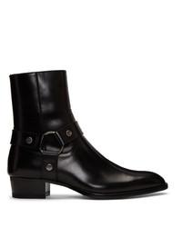 Черные кожаные ковбойские сапоги