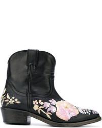 Женские черные кожаные ковбойские сапоги от Amen