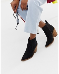 Женские черные кожаные ковбойские сапоги от ASOS DESIGN