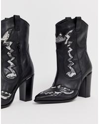 Женские черные кожаные ковбойские сапоги от Bronx