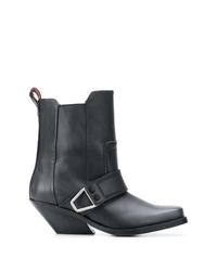 Женские черные кожаные ковбойские сапоги от Diesel
