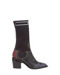 Женские черные кожаные ковбойские сапоги от Fendi