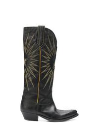 Женские черные кожаные ковбойские сапоги от Golden Goose Deluxe Brand