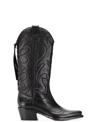 Женские черные кожаные ковбойские сапоги от Htc Los Angeles