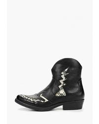 Женские черные кожаные ковбойские сапоги от Martin Pescatore