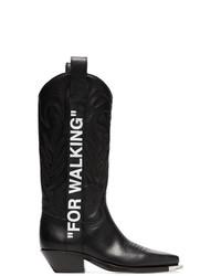 Женские черные кожаные ковбойские сапоги от Off-White