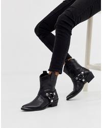 Женские черные кожаные ковбойские сапоги от Steve Madden