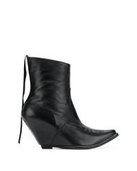 Женские черные кожаные ковбойские сапоги от Unravel Project