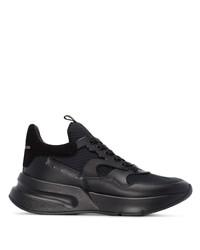 Мужские черные кожаные кроссовки от Alexander McQueen
