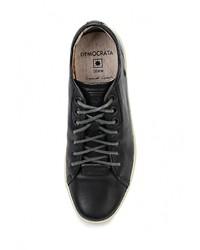 Мужские черные кожаные кроссовки от Democrata