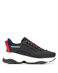 Мужские черные кожаные кроссовки от DSQUARED2