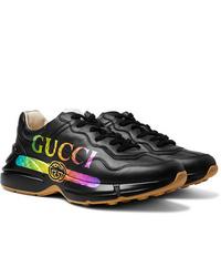 Мужские черные кожаные кроссовки от Gucci