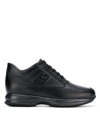 Мужские черные кожаные кроссовки от Hogan