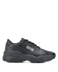 Мужские черные кожаные кроссовки от VERSACE JEANS COUTURE