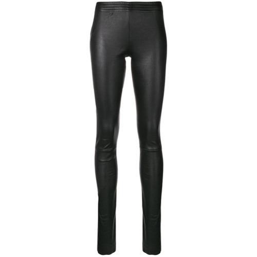 Черные кожаные леггинсы от Drome