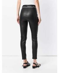 Черные кожаные леггинсы от T by Alexander Wang