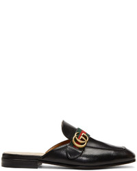 Мужские черные кожаные лоферы в горизонтальную полоску от Gucci