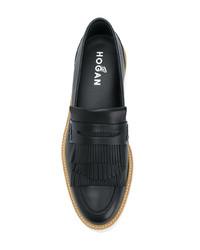 Черные кожаные лоферы на платформе от Hogan