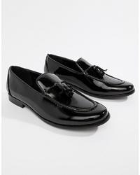 Черные кожаные лоферы с кисточками от Truffle Collection
