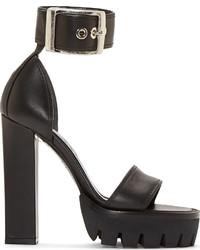 Черные кожаные массивные босоножки на каблуке