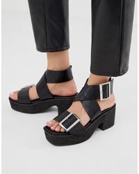 Черные кожаные массивные босоножки на каблуке от ASOS DESIGN