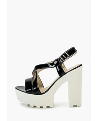 Черные кожаные массивные босоножки на каблуке от Catisa
