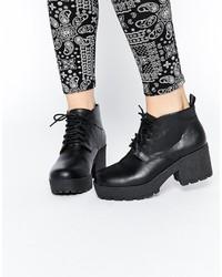 Женские черные кожаные массивные ботильоны на шнуровке от Asos