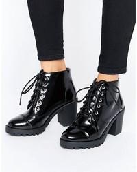 Женские черные кожаные массивные ботильоны на шнуровке от London Rebel