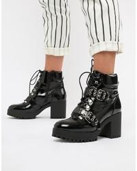 Черные кожаные массивные ботильоны на шнуровке от Missguided