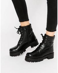 Женские черные кожаные массивные ботильоны на шнуровке от Park Lane