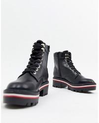 Черные кожаные массивные ботинки на шнуровке