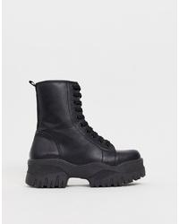 Женские черные кожаные массивные ботинки на шнуровке от ASOS DESIGN