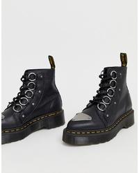 Женские черные кожаные массивные ботинки на шнуровке от Dr. Martens