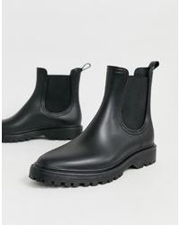 Женские черные кожаные массивные ботинки челси от ASOS DESIGN