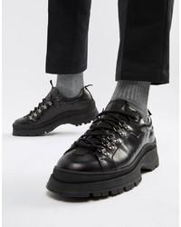 Черные кожаные массивные туфли дерби