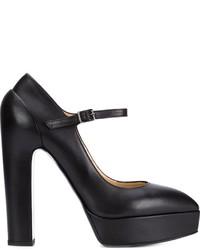 Женские черные кожаные массивные туфли от Vera Wang