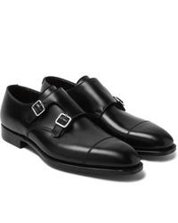 Черные кожаные монки с двумя ремешками от George Cleverley