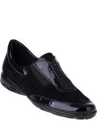 Черные кожаные низкие кеды