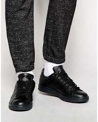 Мужские черные кожаные низкие кеды от adidas