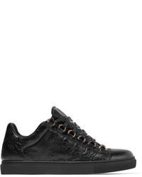Женские черные кожаные низкие кеды от Balenciaga
