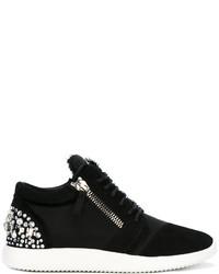Женские черные кожаные низкие кеды от Giuseppe Zanotti Design