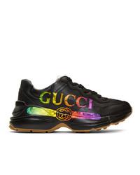 Женские черные кожаные низкие кеды от Gucci