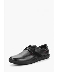 Мужские черные кожаные низкие кеды от Instreet