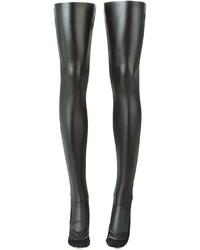 Женские черные кожаные носки до колена от Sacai