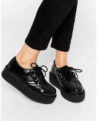 Женские черные кожаные оксфорды от T.U.K.