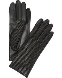 Женские черные кожаные перчатки от Agnelle