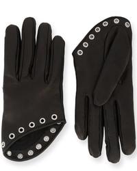 Женские черные кожаные перчатки от Alexander McQueen