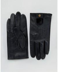 Мужские черные кожаные перчатки от Asos